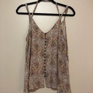 Strappy Button Front Tank